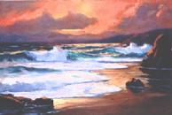 #33 Sunset ay Pfeiffer Beach Big Sur 16x24 Oil