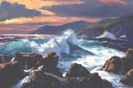 #99 Rock Bound Surf Big Sur 18x24 Oil